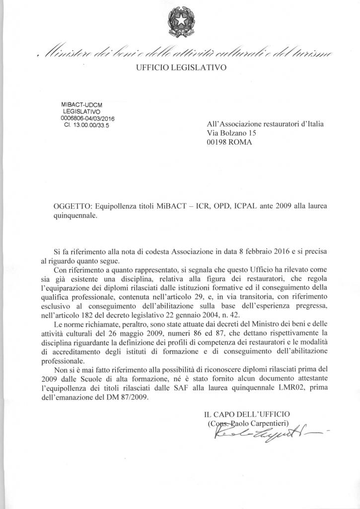 EQUIPOLLENZA TITOLI MIBACT - ICR, OPD E ICPAL ANTE 2009 ALLA LAUREA QUINQUENNALE